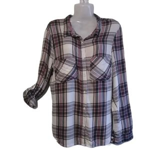 Atmosphere Button Down Plaid shirt SZ 8